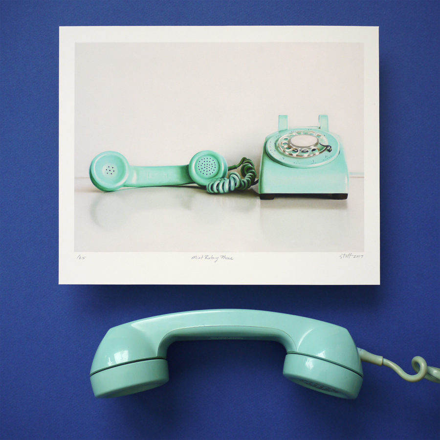 Mint Rotary Phone Print by Christopher Stott