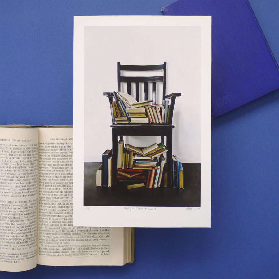 Antique Chair and Books Print by Christopher Stott