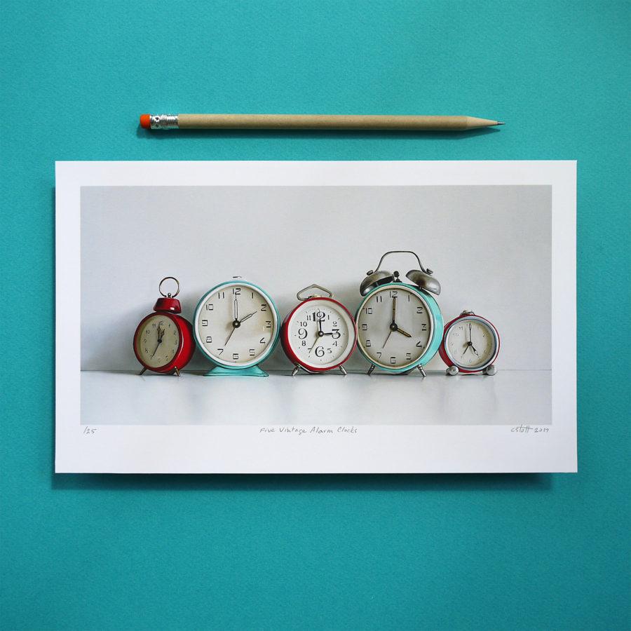 Five Vintage Alarm Clocks Print by Christopher Stott