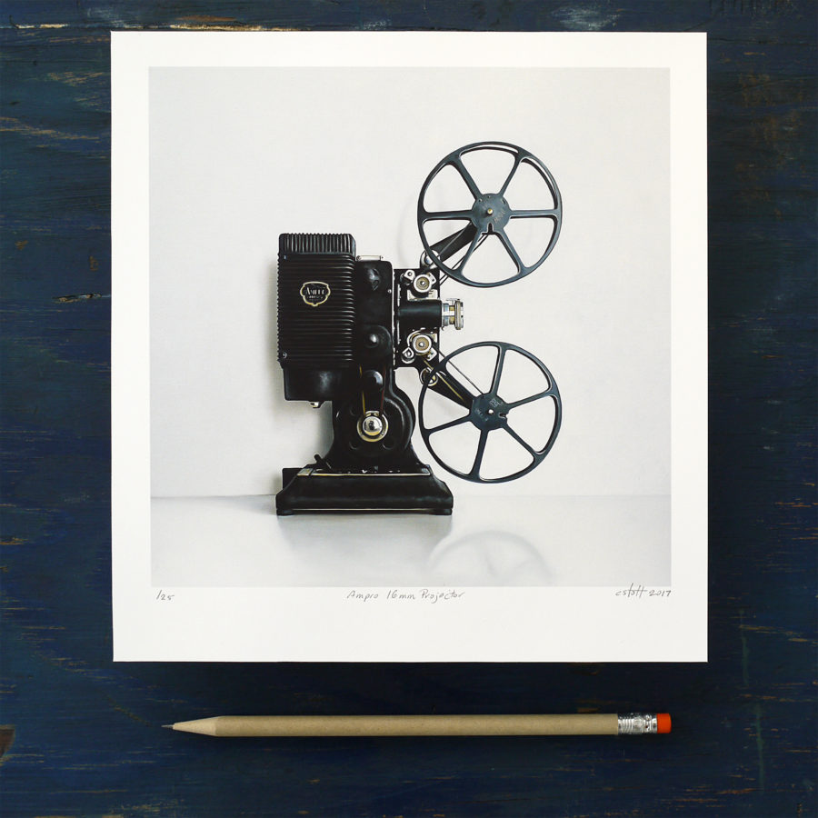 Ampro 16MM Film Projector Print by Christopher Stott